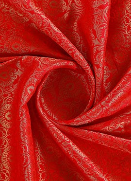 Red Dual Tone Brocade Fabric