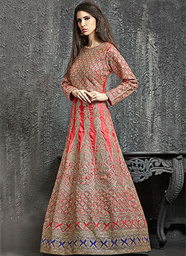 Red Dupion Silk Anarkali Gown