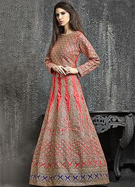 Red Dupion Silk Anarkali Gown