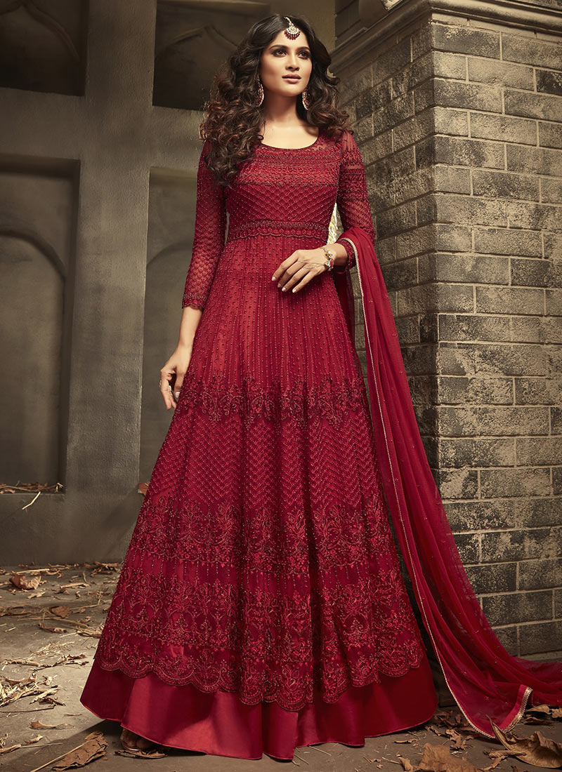 53431f5377 Buy Red Embroidered Abaya Style Anarkali Suit, Sequins ...