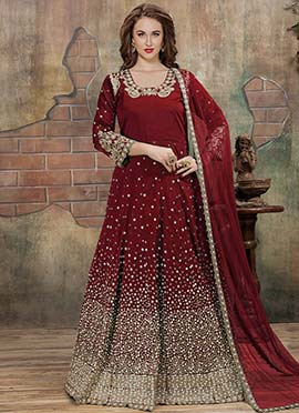 Red Embroidered Abaya Style Anarkali Suit