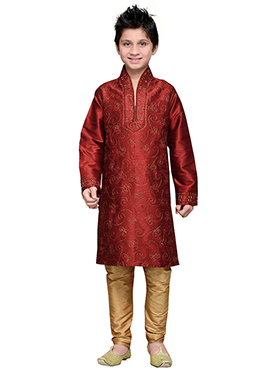 Red Embroidered Art Silk Boys Kurta Pyjama