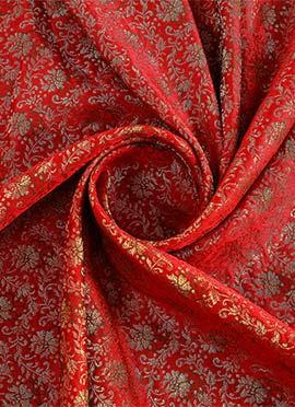 Red Embroidered Art Silk Fabric