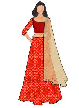 Red Embroidered Art Silk Umbrella Lehenga