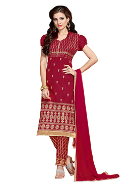 Red Embroidered Cotton Straight Pant Suit