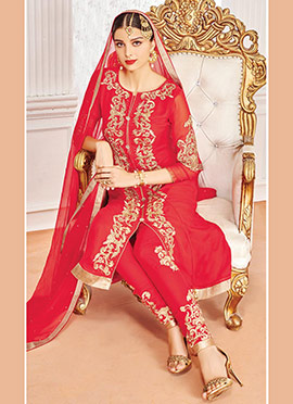 Red Embroidered Georgette Anarkai Suit