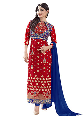 Red Embroidered Mouni Roy Straight Suit