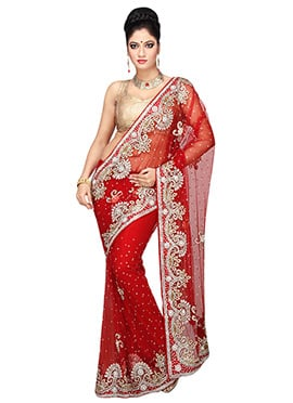 Red Embroidered Net Embellished Saree