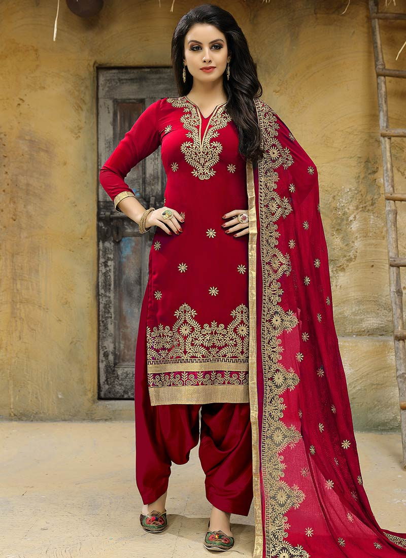 f55344f281 Red Embroidered Salwar Suit