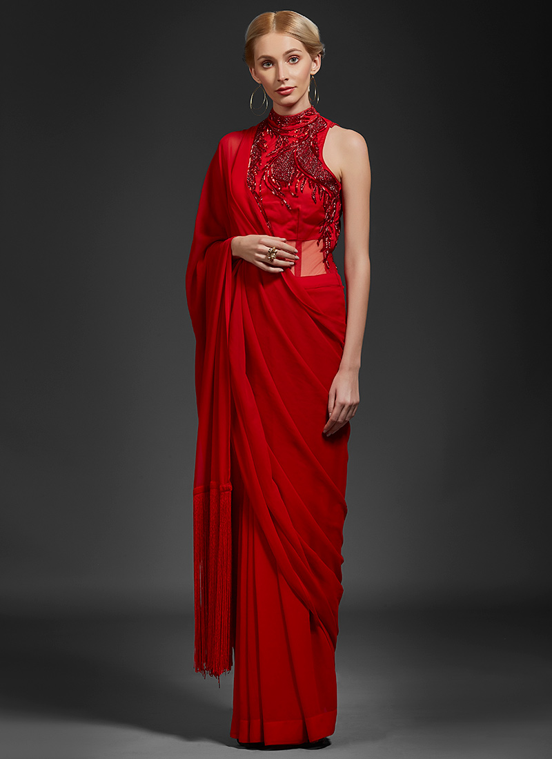 Buy Red Embroidered Saree Gown, Embroidered, dresses and gown Online ...