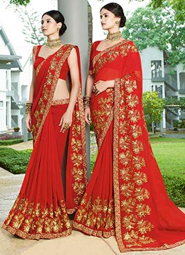 Red Embroidered Saree