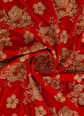 Red Embroidered Velvet Fabric