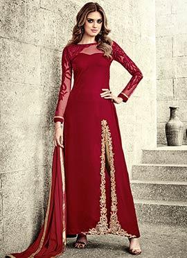 Red Falkn Velvet Straight Pant Suit