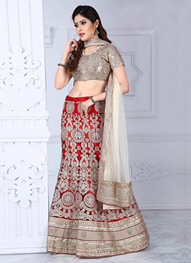 Red Fish Cut Lehenga