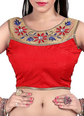 Red Floral Embroidered Blouse