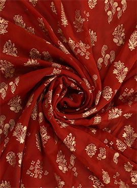 Red Foil Printed Paper Silk Fabric