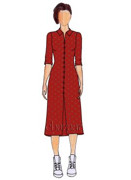 Red Foil Printed Paper Silk Shirt Style Kurti