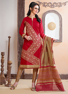Red Foliage Designed Chanderi Silk Churidar Suit