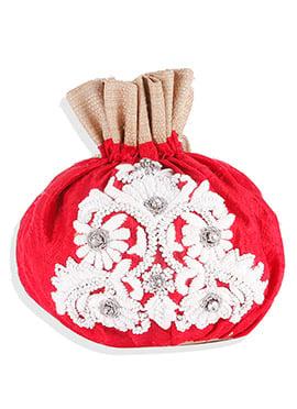 Red Foliage Designed Potli Bag