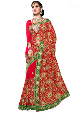 Red Foliage Patterned Embroidered Saree