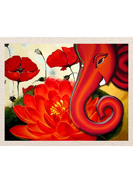 Red Ganesha with Flower Canvas