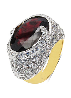 Red Garnet N White Cubic Zirconia Ring