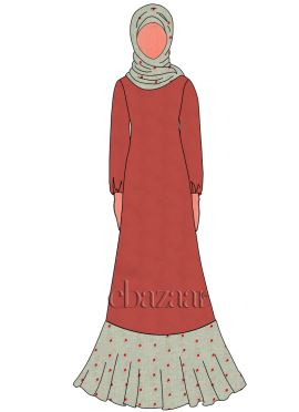 Red Georgette Abaya