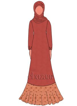 Red Georgette Abaya