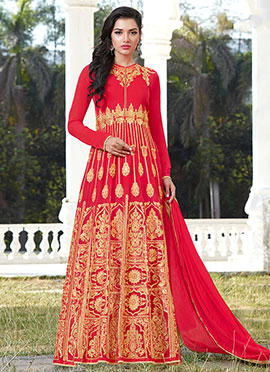 Red Georgette Abaya Style Anarkali Suit