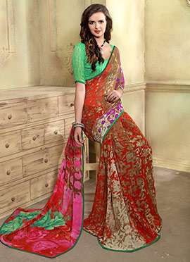 Red Georgette Abstract Saree