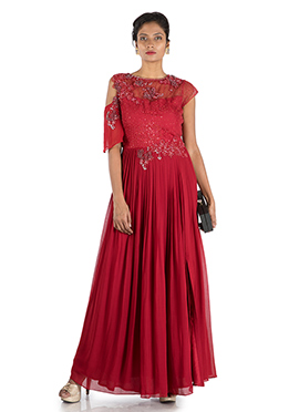 Red Georgette Anarkali Gown