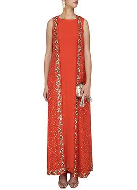 Red Georgette Anarkali Gown