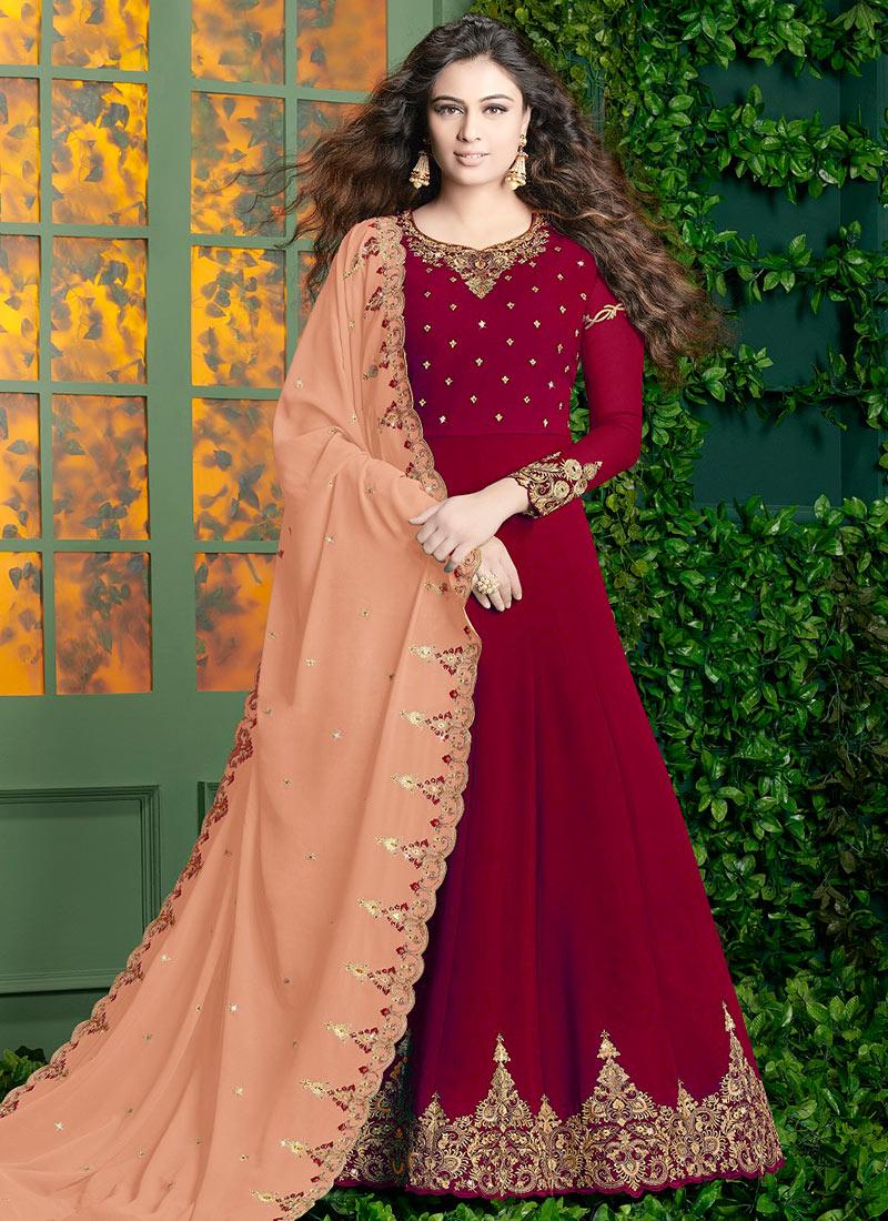 d38e111c5f Buy Red Georgette Anarkali Suit, Sequins , Zari , Embroidered ...