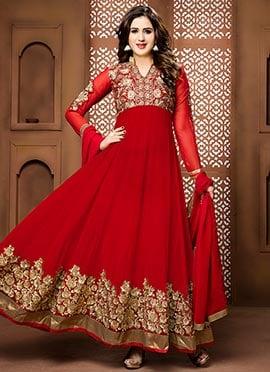 Red Georgette Ankle Length Anarkali Suit