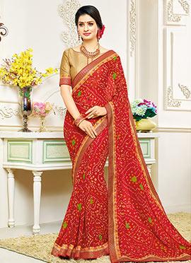 Red Georgette Bandhini Saree