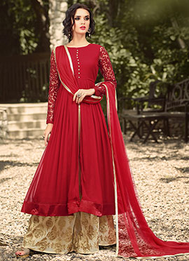 Red Georgette Center Slit Palazzo Suit