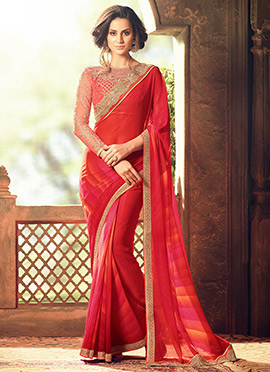 Red Georgette Chiffon Border Saree