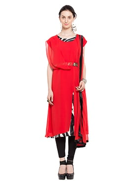 Red Georgette Churidhar Suit