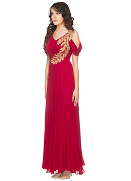Red Georgette Cold Shoulder Gown