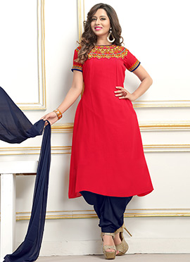 Red Georgette Dhoti Style Suit