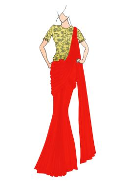 Red Georgette Drape Saree with Gold Embroidered Blouse