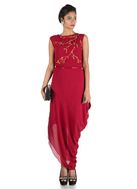 Red Georgette Draped Dress