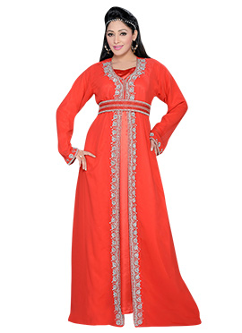 Red Georgette Embellished Center Slit Fustan