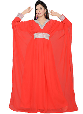 Red Georgette Embellished Kaftan