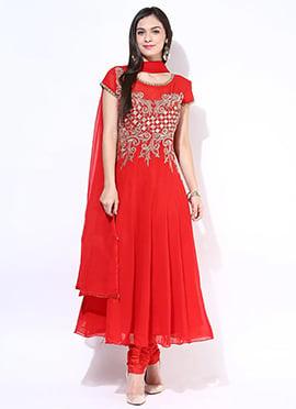 Red Georgette Embellished Plus Size Anarkali