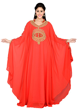 Red Georgette Embroidered Kaftan