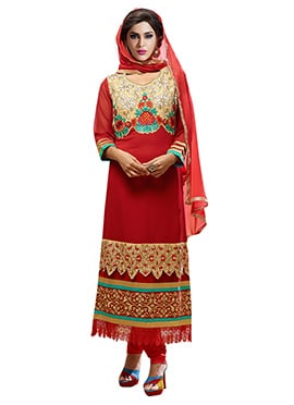 Red Georgette Embroidered Straight Suit