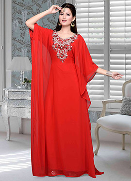 Red Georgette Fustan