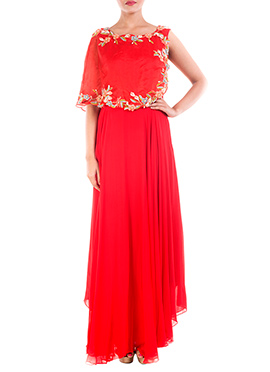 Red Georgette Half Cape Gown