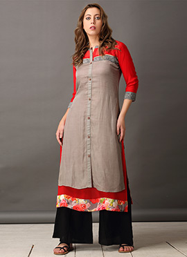 Red Georgette Jacket Style Kurti